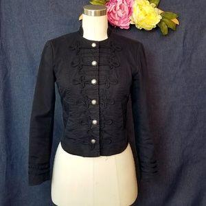 H&M Black Victorian Military Crop Twill Jacket 2